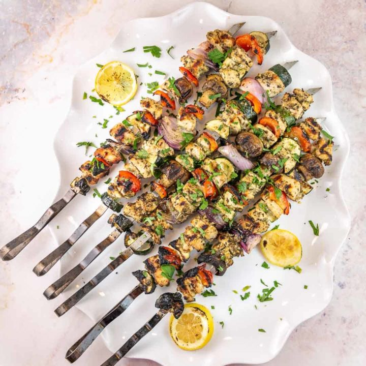 grilled chicken kabobs with mediterranean marinade