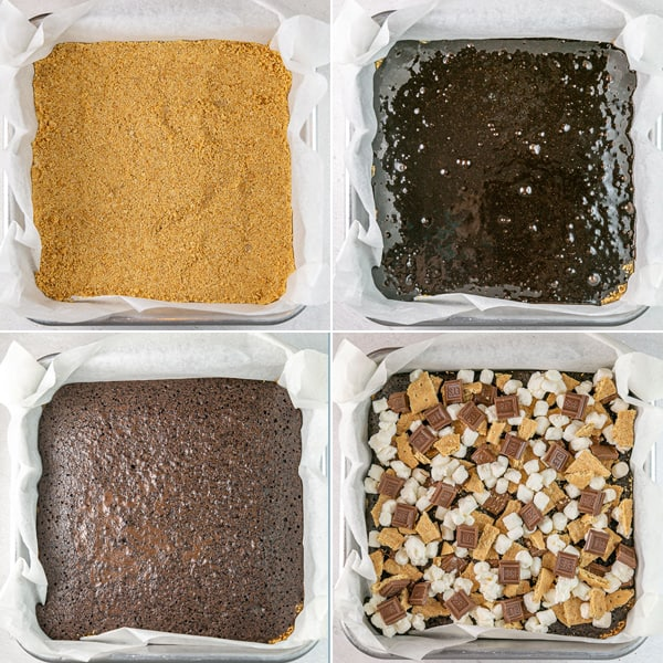 four photos showing graham cracker crust, unbaked brownies, baked brownies, and brownies topped with marshmallows and chocolate