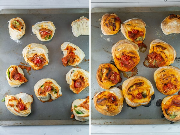 pizza rolls on a cookie sheet shown before and after baking