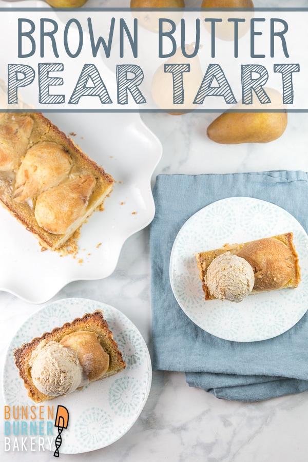 Brown Butter Pear Tart: an easy recipe for the perfect fall fruit dessert!  Ripe pears, a soft buttery shortbread crust, and a baked brown butter custard. #bunsenburnerbakery #pears #peartart #fruittart