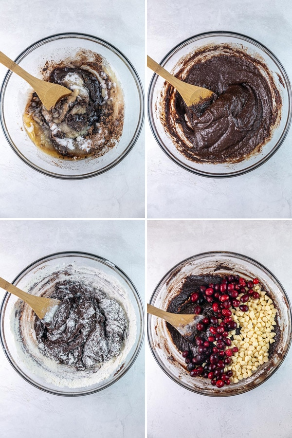 four photos showing mixing ingredients into the batter by hand