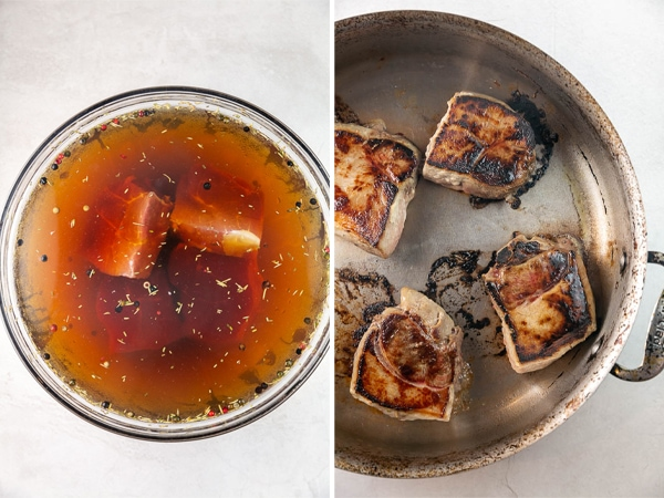 pork chops in a bowl with brining solution, then pictured searing in a hot pan