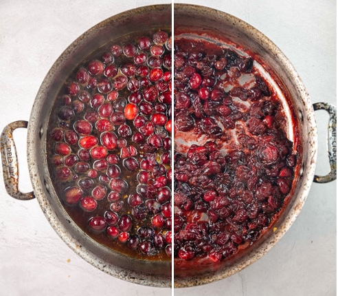 pictured showing cranberry maple glaze before and after cooking down in a saute pan