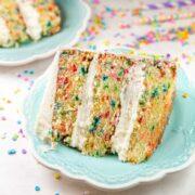 slice of three layer homemade funfetti cake