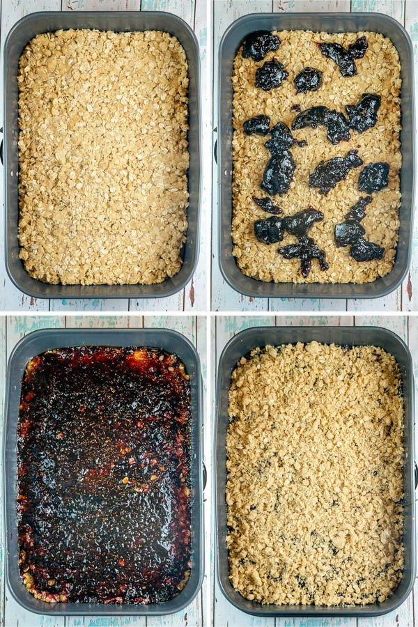 four photos showing how to assemble layers for oatmeal jam bars: press crust into pan, dollop with jam, spread jam, and add crumbled topping