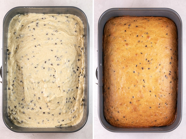 side by side photos of a banana chocolate chip cake batter and then baked