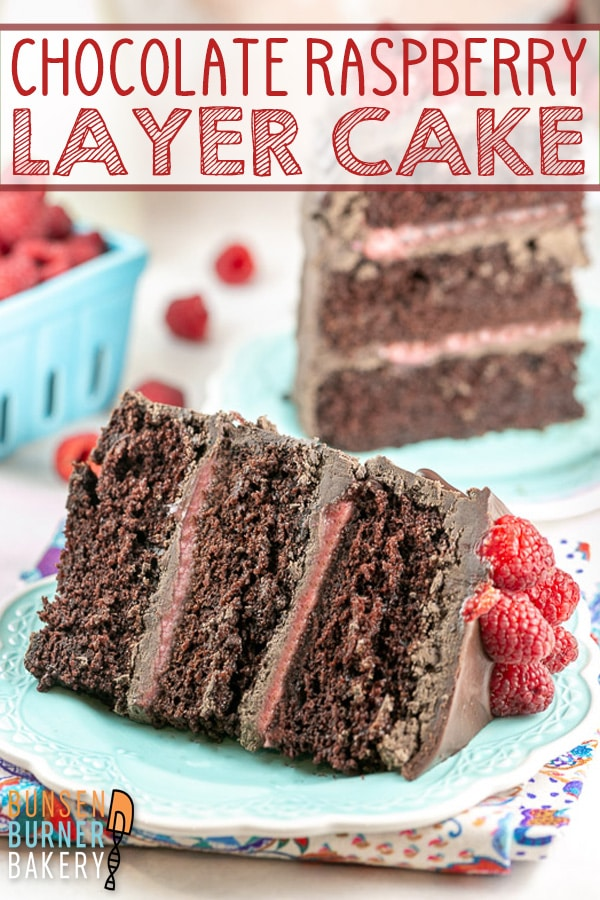 Chocolate Raspberry Cake: Rich, most three layer chocolate cake filled with homemade raspberry. curd and covered in a melted chocolate frosting.  The ultimate birthday or celebration cake!
