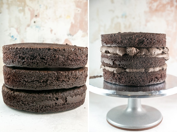 three layers of dark chocolate cake stacked with and without frosting