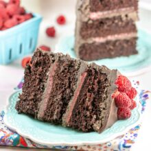 three layer chocolate cake filled with raspberry curd
