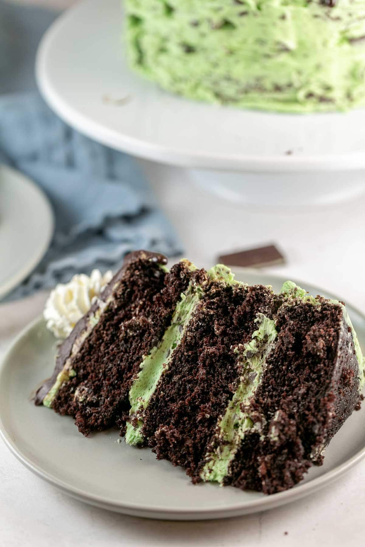 large slice of chocolate cake with mint chocolate chip frosting