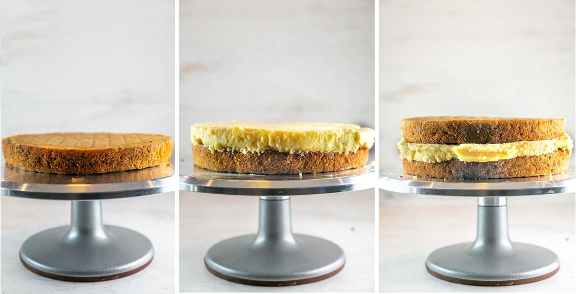 building a carrot cake cheesecake cake stacking carrot cake and cheesecake layers
