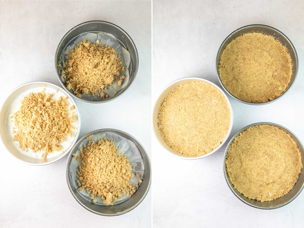 pictures showing how to make a graham cracker cake crust