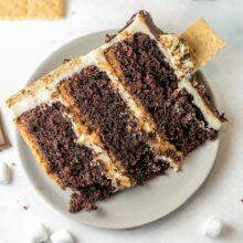 slice of three layer s'mores cake