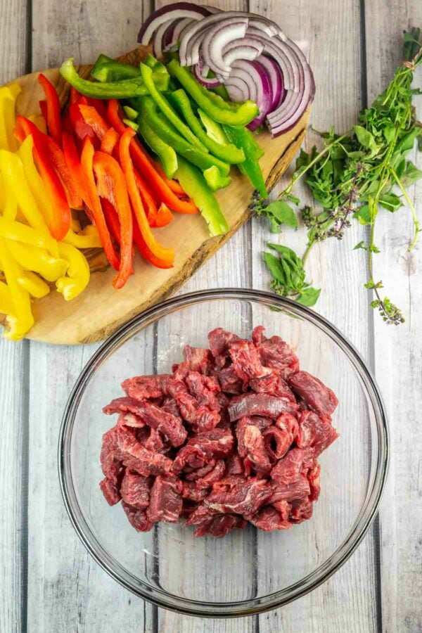 ingredients for thai basil beef on a table
