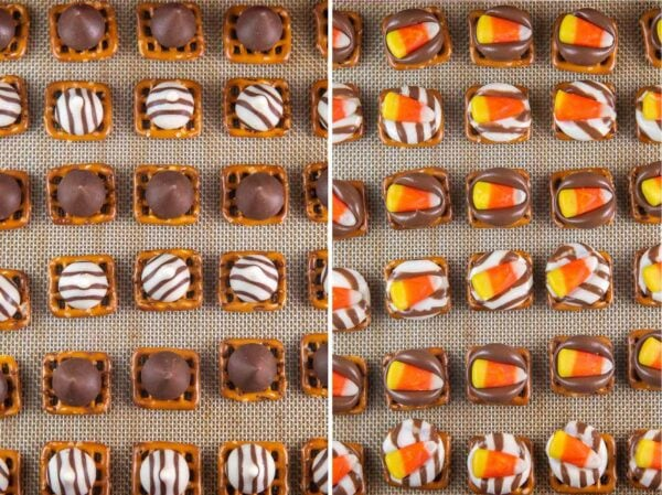 side by site photos showing pretzel bites before and after adding candy corn