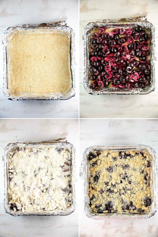 four steps of making cherry pie bars: crust, cherry filling, crumble topping, bake