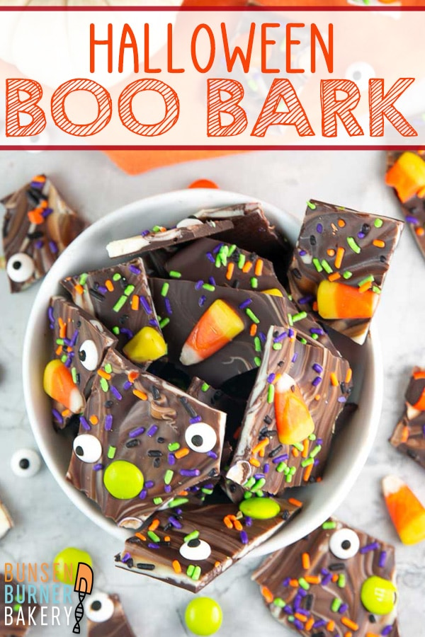 Chocolate Halloween Boo Bark: Give this easy, 10 minute chocolate bark a Halloween twist with candy corn, Halloween covered sprinkles, and candy eyeballs! The perfect no-bake easy Halloween treat.